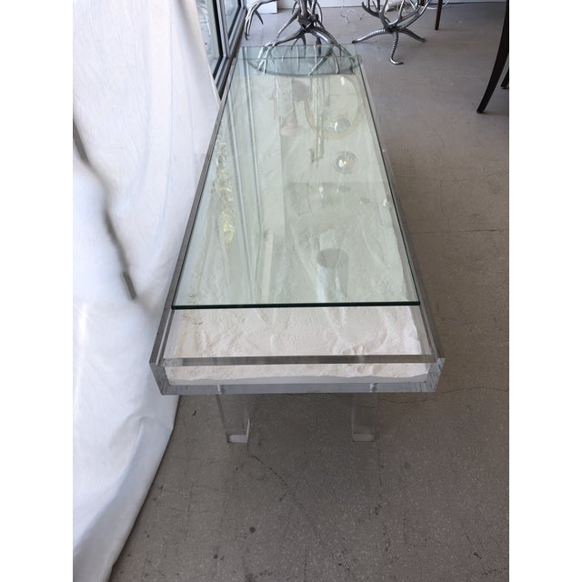 Tan 1970s Mid-Century Modern Lucite & Sliding Glass Cocktail Table For Sale - Image 8 of 11