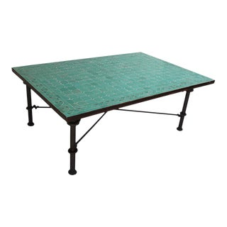 Moroccan Mosaic Teal Tile Rectangular Coffee Table For Sale