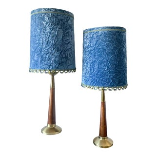 Mid-Century Walnut Table Lamps With Blue Velvet Shades - A Pair For Sale