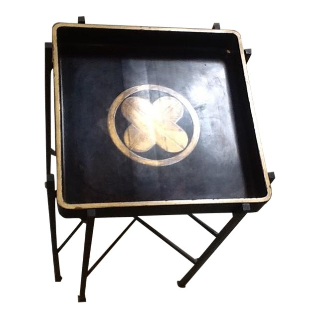 Vintage 1930s Japanese Lacquered Tray W/ Contemporary Metal Stand For Sale