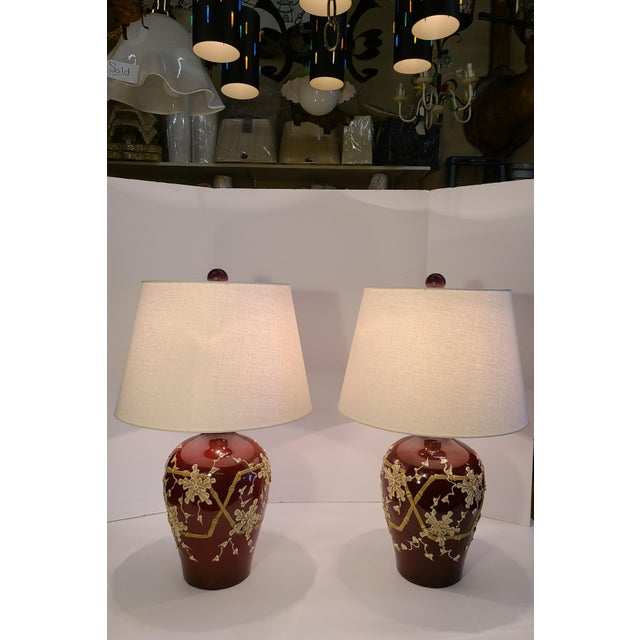 1960s Moriage Bamboo Lamps With Linen Shades- a Pair For Sale - Image 10 of 13