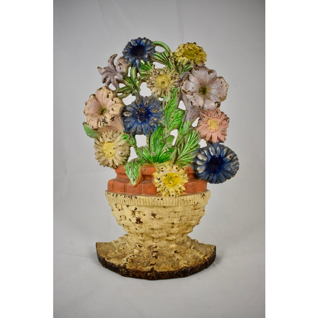 1930s Hubley Cast Iron Basket of Flowers Doorstop For Sale - Image 9 of 10
