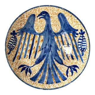 Vintage Spanish Pottery Eagle Charger For Sale