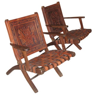Embossed Leather Folding Armchairs - A Pair For Sale