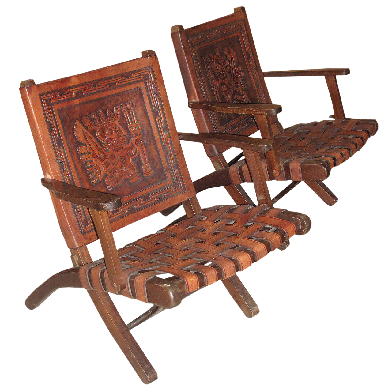 Embossed Leather Folding Armchairs   A Pair   Image 1 Of 4