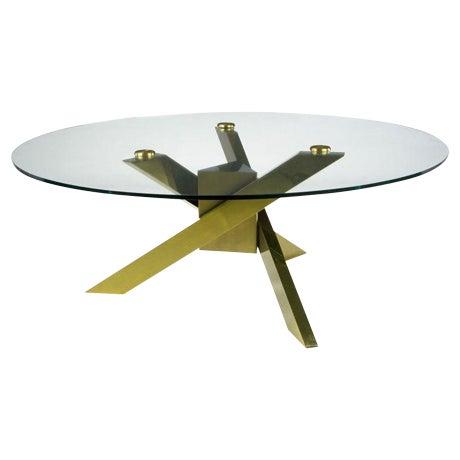 1970s Geometric Brass Tripodal Coffee Table For Sale