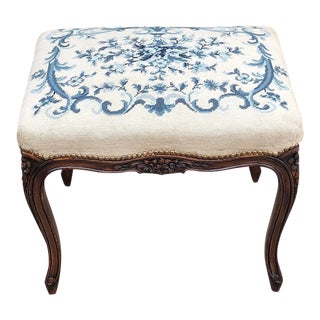 Early 20th Century Antique French Louis XV Needlepoint Stool For Sale