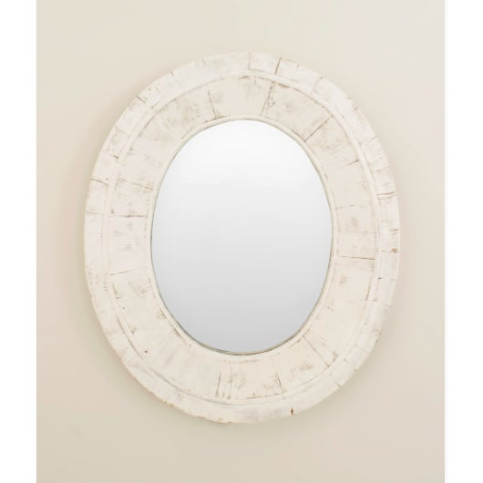 American Country (19/20th Cent) weathered white painted oval thick framed wall mirror