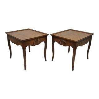 Henredon French Country Shell Carved Scalloped Edge Walnut End Tables - a Pair
