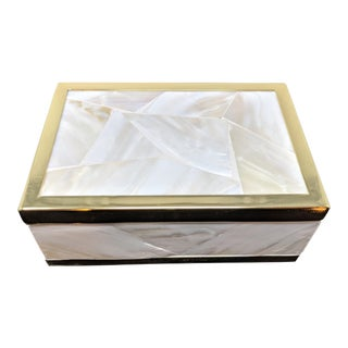 Jonathan Adler Inspired Mother of Pearl Box With Gold Trim