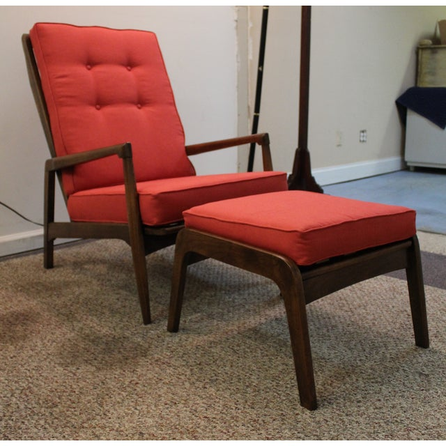 Mid-Century Modern Pearsall-Style Chair & Ottoman - Image 2 of 10