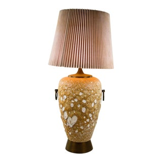 Orange Ceramic Textured Urn Table Lamp