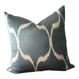 Turkish Silk Ikat Pillow in Teal & White For Sale