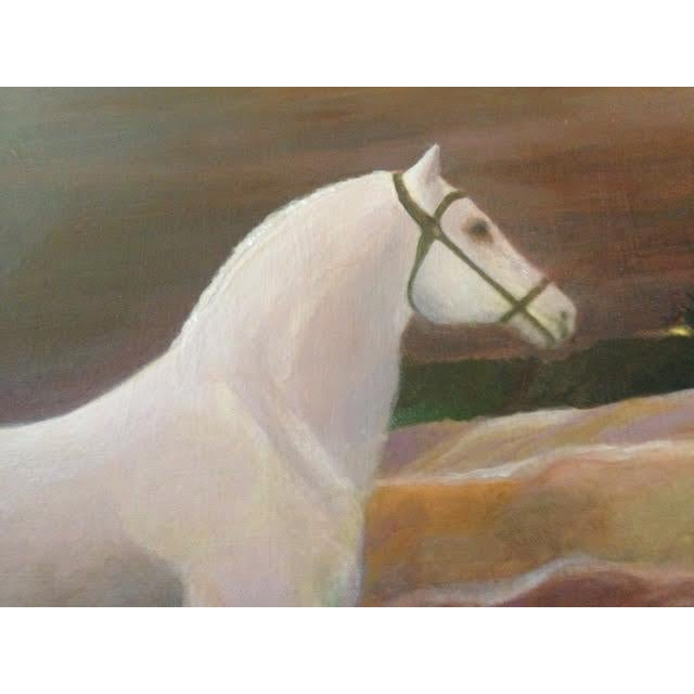 """""""White Horse Listening"""" The seller says: """"I painted this piece when I was doing landscapes that included horses. This..."""
