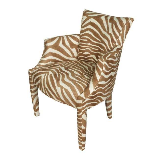 Safari Vintage Zebra Linen Fabric Donghia Chairs - a Pair For Sale - Image 3 of 4