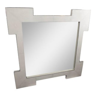 Custom Square Shagreen Mirror with Square Edges For Sale