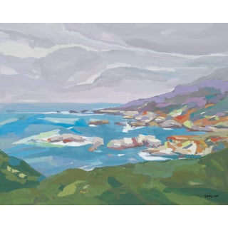 """Clouds Over Big Sur"" Original Landscape Painting by Jenny Wantuch For Sale"