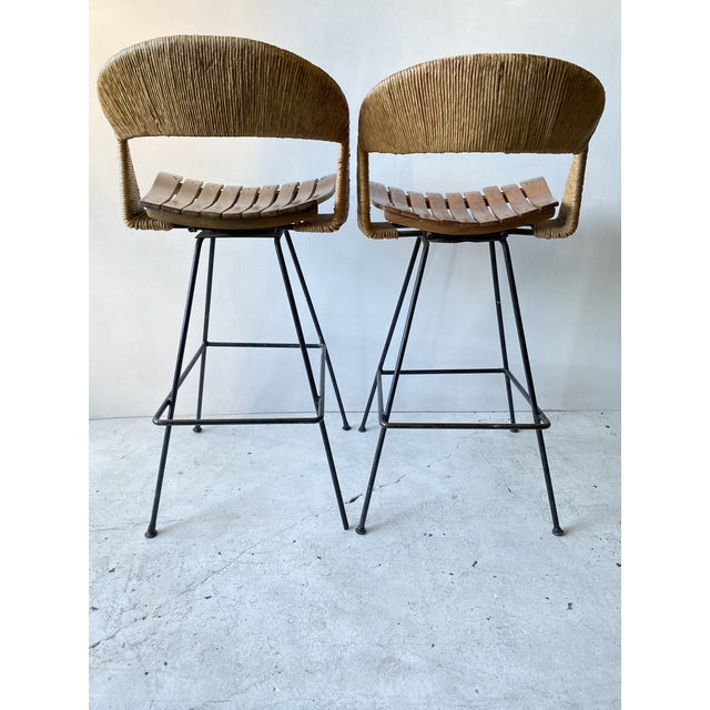 Brown Vintage Arthur Umanoff Iron Wicker Back Counter Height Barstools- A Pair For Sale - Image 8 of 11