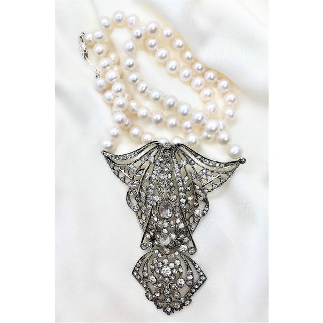 Metal Antique Sterling Silver, Crystal and Cultured Pearl Necklace For Sale - Image 7 of 9