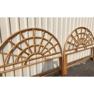 1960s Boho Chic Bamboo Rattan Arched Queen Size Headboards - a Pair Preview