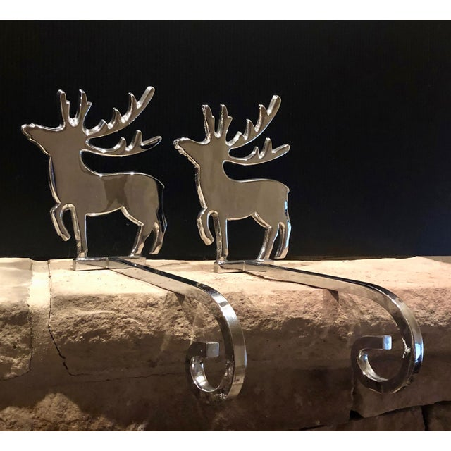 Vintage Reindeer Silver Plated Stocking Hangers - Set of 2 For Sale - Image 9 of 9