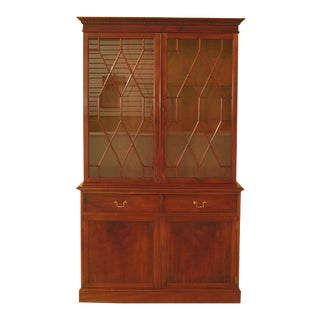 1990s Vintage Smith & Watson Mahogany China Cabinet - 2 Pieces For Sale