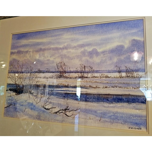 """Early 21st Century Vintage Irish """"Winter Scene"""" Watercolor by Rev Jh Flack For Sale In Dallas - Image 6 of 9"""