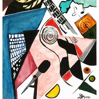 Laure Pidet, Abstract Watercolor - La Guitare (The Guitar) For Sale