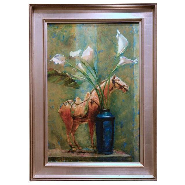 Blue Vase & Horse Statue Framed Glicée Print - Image 1 of 3