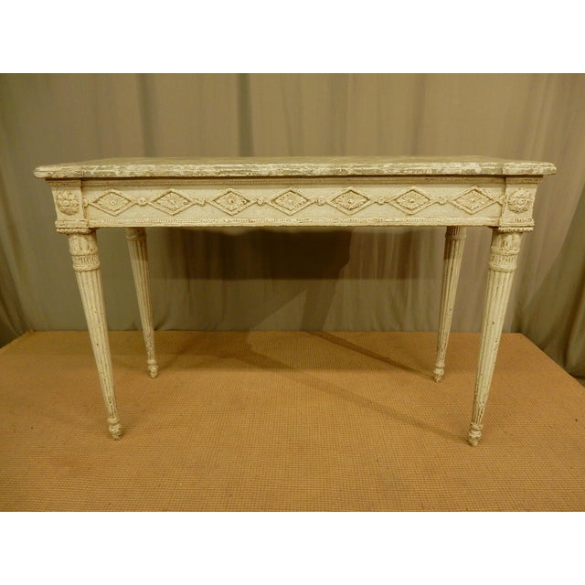 Wood Vintage Louis XVI Style Painted Console For Sale - Image 7 of 7