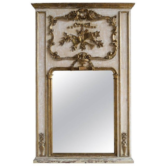 Giltwood French Painted and Parcel-Gilt Mirror, Circa 1930 For Sale - Image 7 of 7