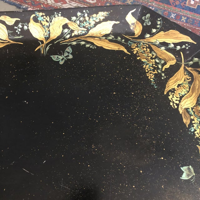 1960s 1960s Tole Butler Tray and Stand Flora Fauna Butterfly Motif For Sale - Image 5 of 13