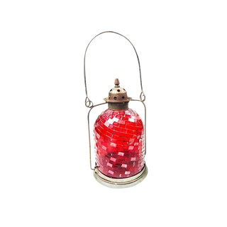 Large Vintage Moroccan Red Glass Mosaic Tea Light Candle Lantern