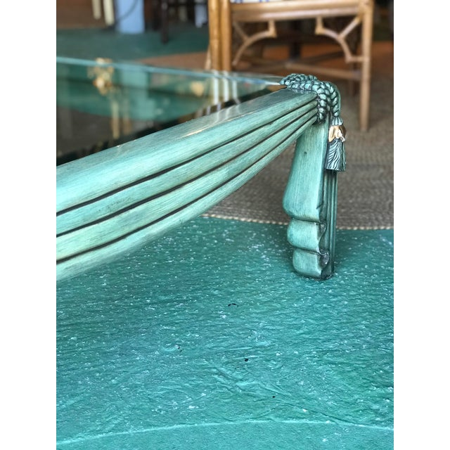 Stunning Hollywood Regency draped tassel coffee table in as found vintage condition. Love the emerald green color but...