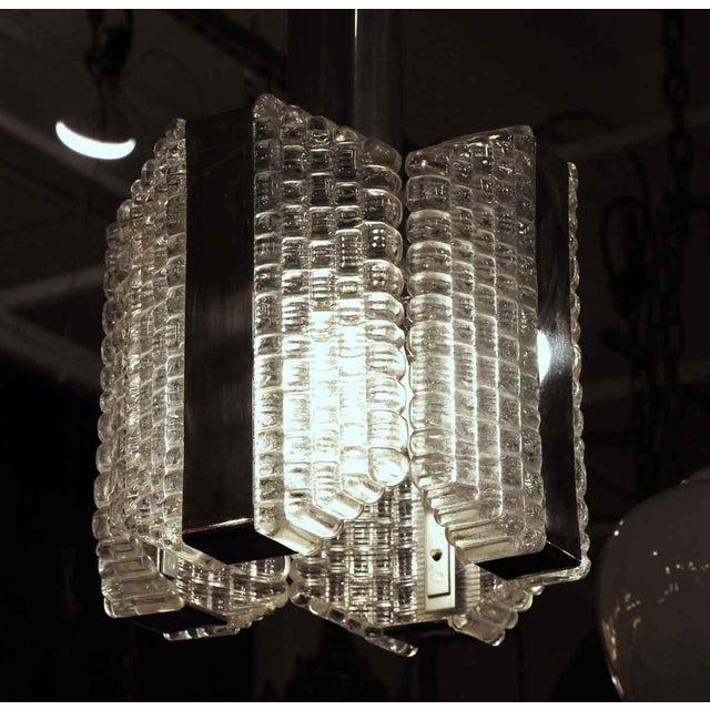 Hollywood Regency 1960s Mid-Century Glass Chrome Pendant Light For Sale - Image 3 of 8