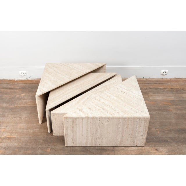 A Large Set of Eight Travertine Elements Forming One or More Coffee Tables For Sale - Image 4 of 11