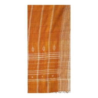 Neutral Hand Woven Ochre Wool Bed Cover 110x110 Inches For Sale
