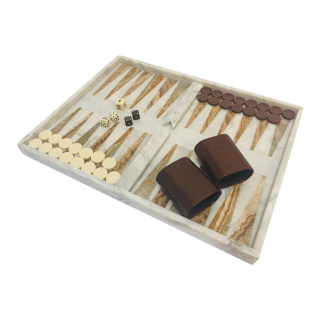 Italian Onyx and Marble Backgammon Set, 1960s For Sale