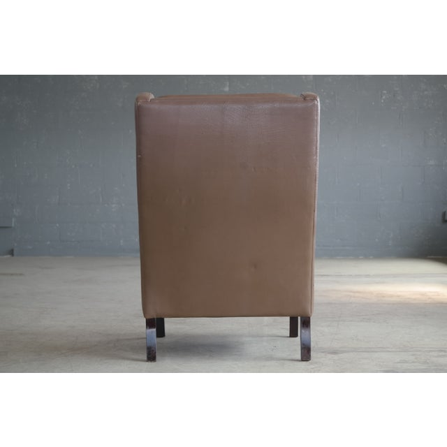 Borge Mogensen Style Leather Wingback Chair - Image 6 of 8