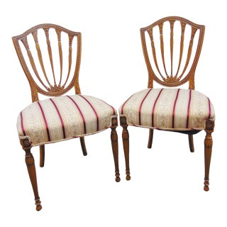 Sheraton Carved Mahogany Sheildback Chairs - a Pair For Sale