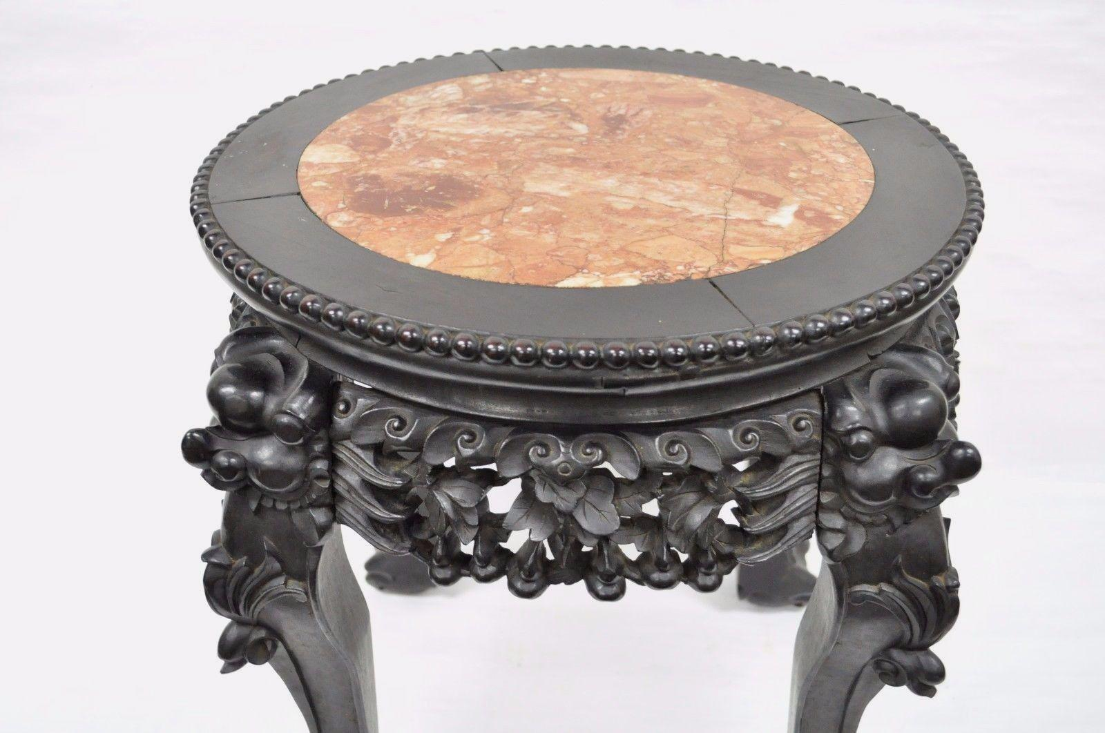 Carved Wood Oriental Marble Top Chinese Plant Stand Asian End Table   Image  7 Of 11