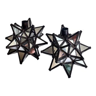 Multi Faceted Mirrored Candle Holders - Pair For Sale
