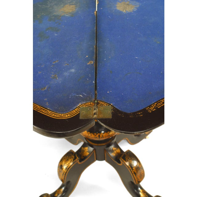 English Victorian Papier Mâché Pearl Inlaid Flip Top Console Table For Sale - Image 4 of 8