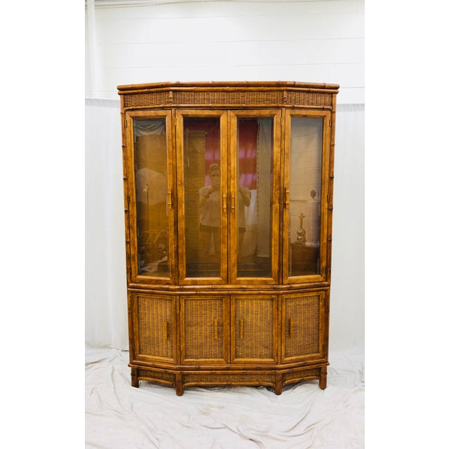 Ficks Reed Vtg Faux Bamboo & Wicker Hutch For Sale - Image 4 of 13