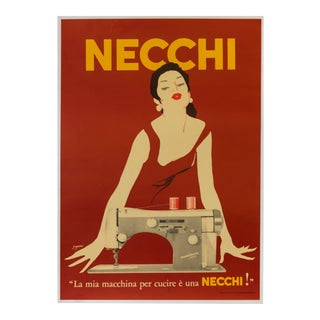 1950's Italian Sewing Machine Poster, Necchi (Red) For Sale