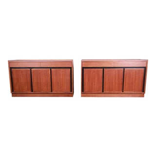 Merton Gershun for Dillingham Mid-Century Modern Walnut Sideboard Credenzas - a Pair For Sale