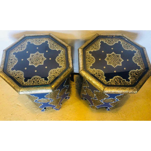 Metal Moroccan Silver Metal Brass Inlaid Side Tables - a Pair For Sale - Image 7 of 13