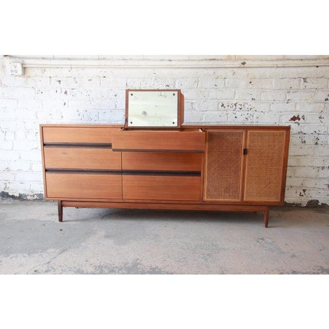 Calvin Furniture Kipp Stewart for Calvin Mid-Century Modern Walnut and Cane Dresser or Credenza For Sale - Image 4 of 13