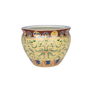 Floral Porcelain Fish Bowl Pot For Sale