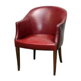 Red Studded Faux Leather Chair For Sale